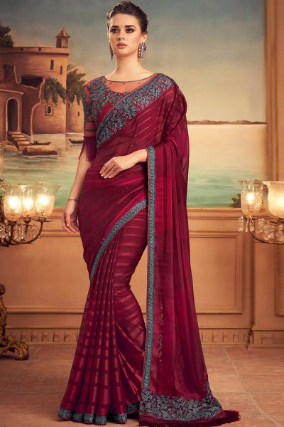 Wine Red Designer Silk Saree