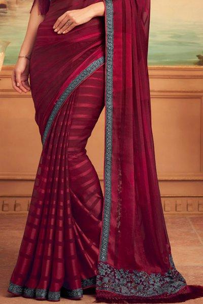 Wine Red Designer Silk Saree