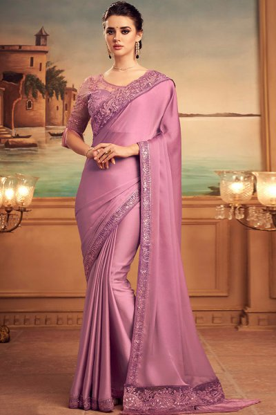 Lilac Silk Embellished Saree