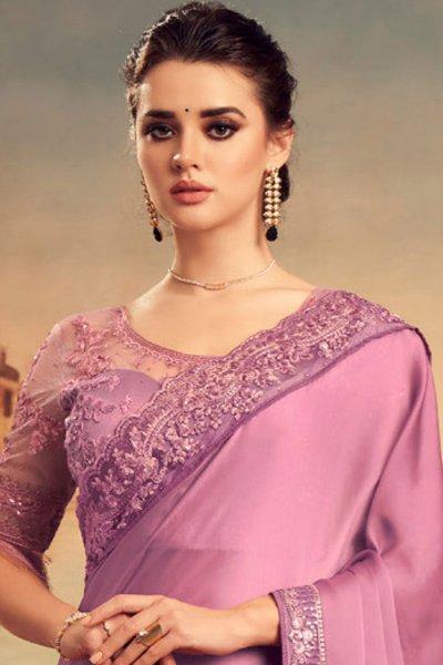 Lilac Silk Embellished Saree