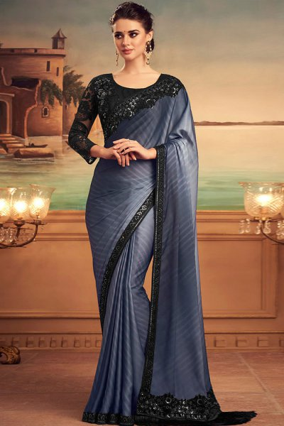 Dark Steel Blue Designer Silk Saree