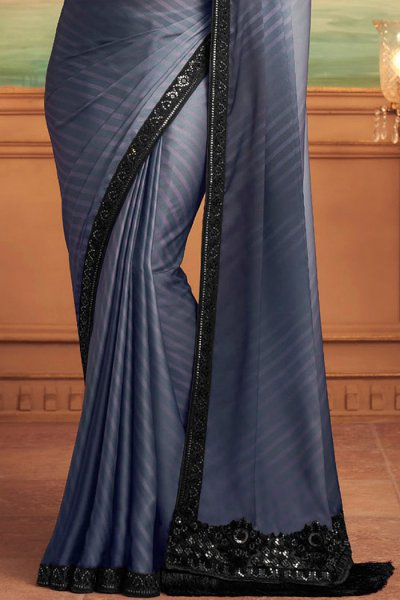 Dark Steel Blue Designer Silk Saree