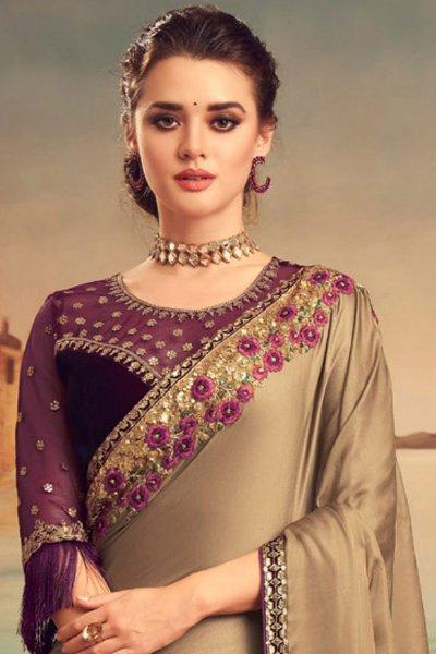 Mocha Designer Silk Saree