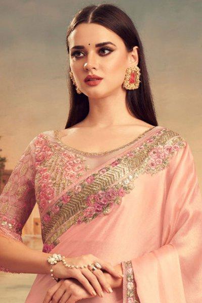 Peach Designer Silk Saree