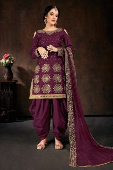 Purple Zari Embroidered Cotton Silk Punjabi Suit