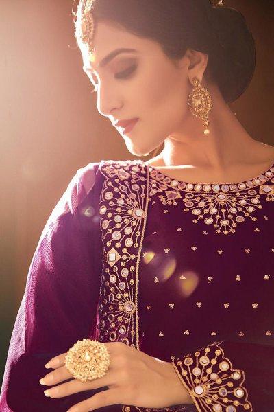 Purple Zari Embroidered Cotton Silk Punjabi Suit