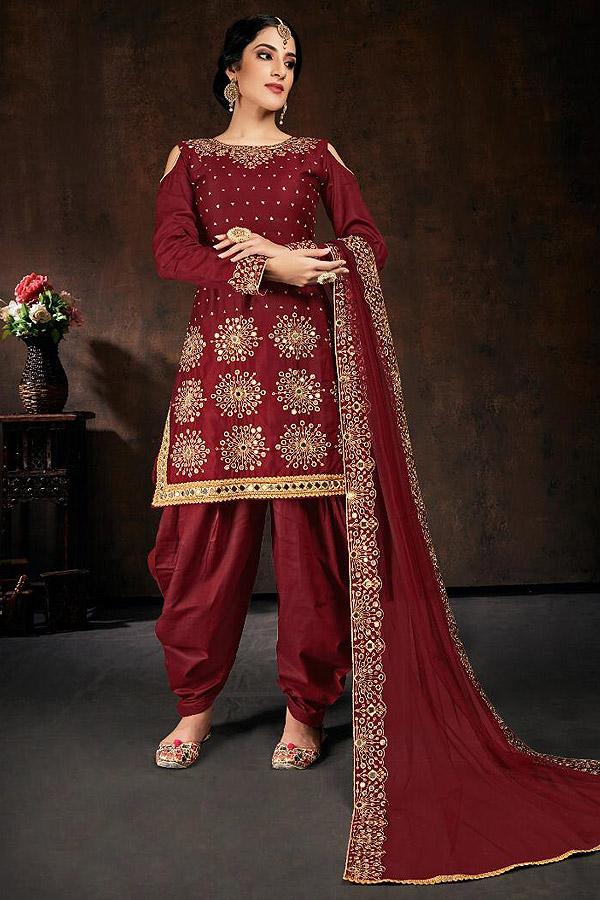 Maroon Zari Embroidered Cotton Silk Punjabi Suit