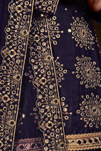 Navy Blue Zari Embroidered Cotton Silk Punjabi Suit