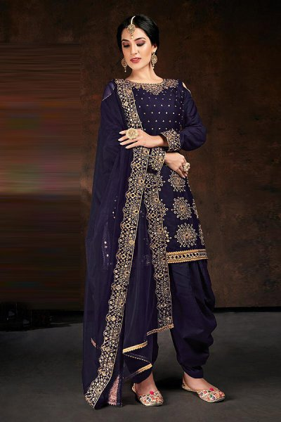 Navy Blue Zari Embroidered Cotton Silk Punjabi Suit