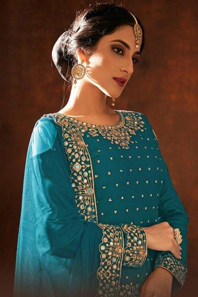 Turquoise Blue Zari Embroidered Cotton Silk Punjabi Suit