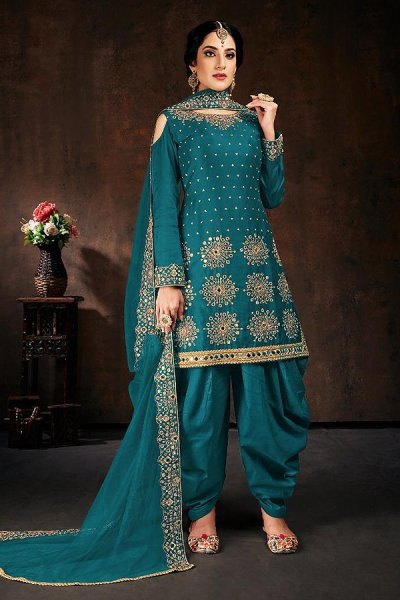 Turquoise Blue Zari Embroidered Cotton Silk Punjabi Suit