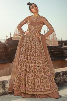 Stunning Beige Embroidered Net Anarkali with Lehenga/ Pant