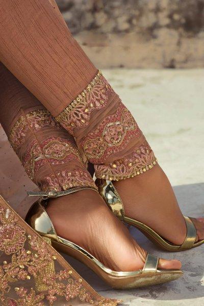 Stunning Beige Embroidered Net Anarkali with Lehenga/ Pant