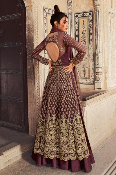 Plum Embroidered Net Anarkali with Lehenga/Pant