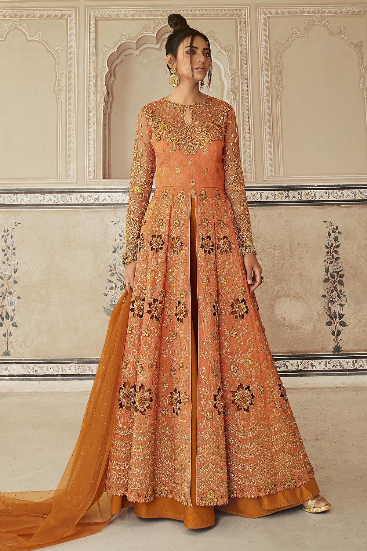 Orange Zari Embroidered Anarkali Suit with Lehenga