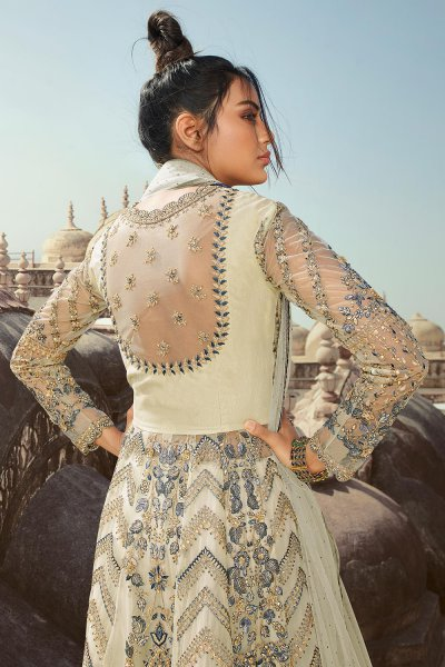 Off White Embroidered Anarkali Suit with Lehenga