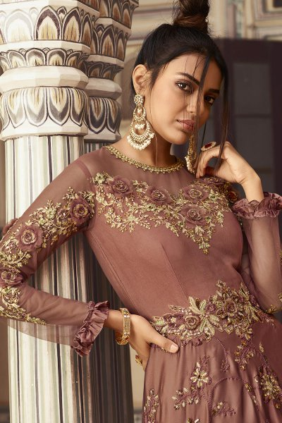Rose Taupe Silk Zari Embroidered Anarkali Suit