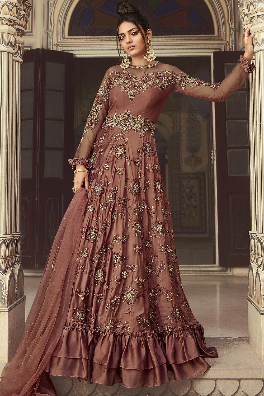 Rose Taupe Silk Zari Embroidered Anarkali Suit