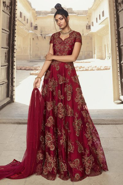 Wine Zari Embroidered Net Anarkali Suit