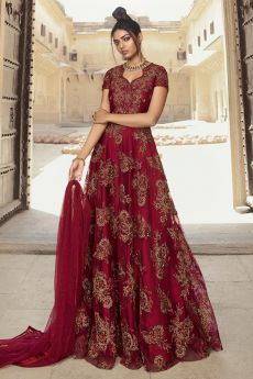 Wine Zari Embroidered Net Anarkali Suit
