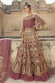 Dusky Pink Zari Embroidered Anarkali Suit with Lehenga/Pant