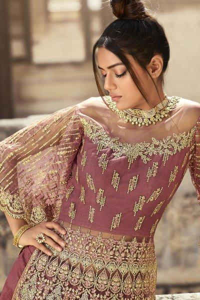 Dusky Pink Zari Embroidered Anarkali Suit with Lehenga/Pant
