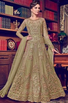 Kiwi Green Beautiful Embroidered Anarkali Suit