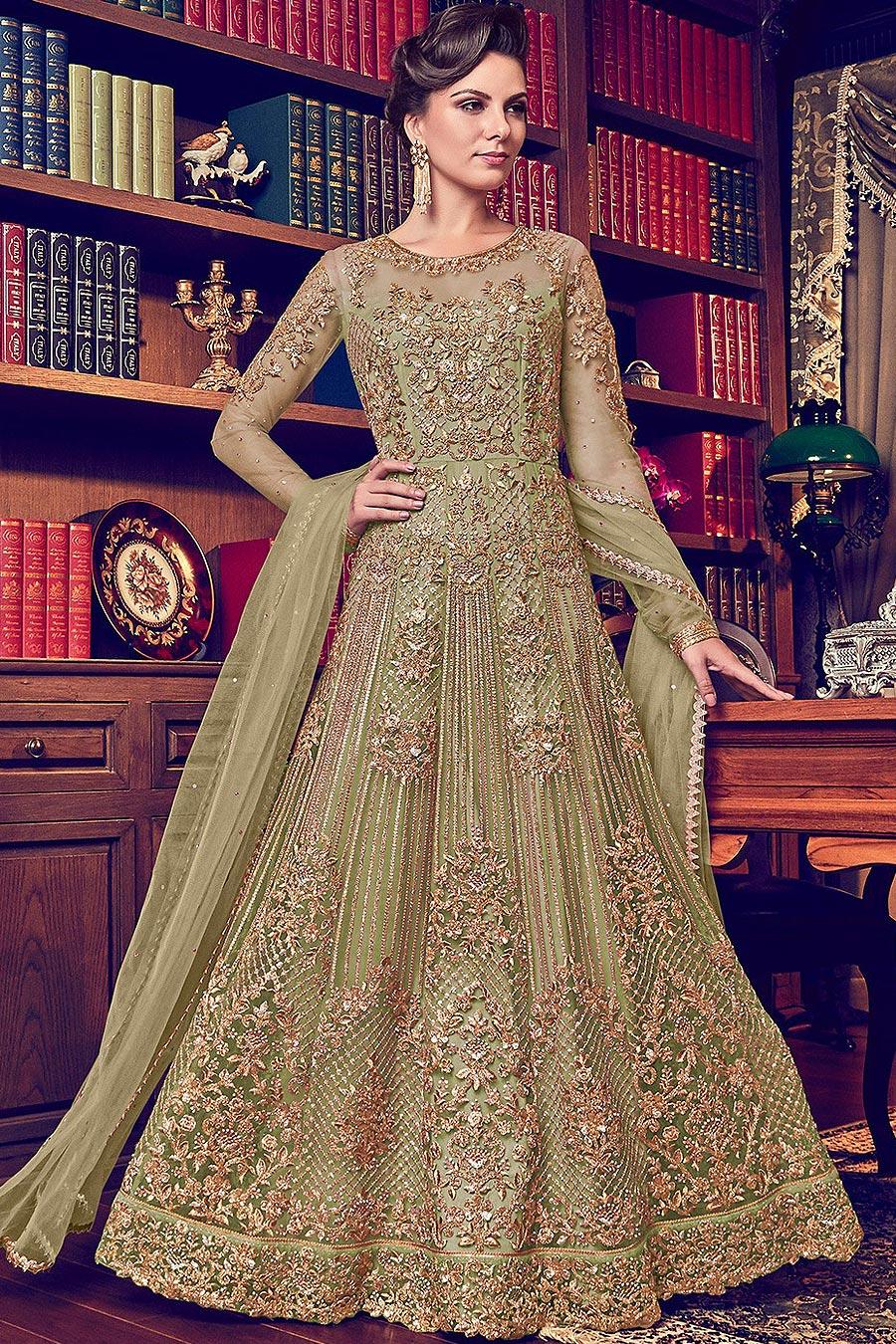 Kiwi Green Beautiful Embroidered Anarkali Suit