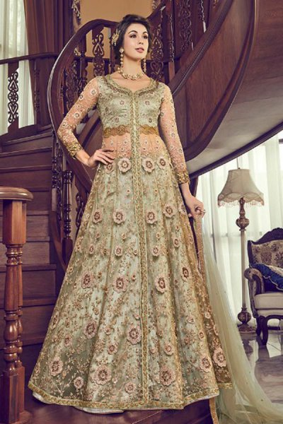 Kiwi Green Zari Embroidered Anarakali Suit with Lehenga/Pant