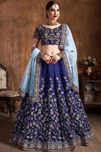 Royal Blue Silk Lehenga with Zari Embroidery