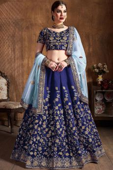 Royal Blue Silk Lehenga with Zari Embroidery