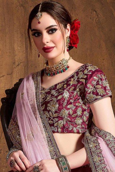 Maroon Silk Lehenga with Zari Embroidery