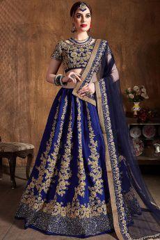 Stunning Blue Silk Lehenga with Zari Embroidery