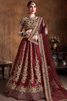 Stunning Wine Silk Lehenga with Zari Embroidery