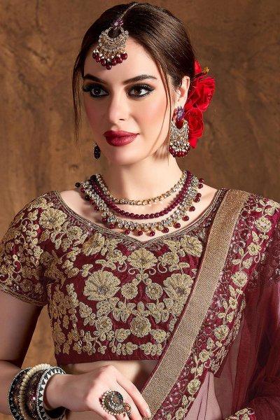 Stunning Wine Silk Lehenga with Zari Embroidery