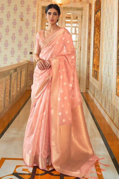Peach Silk Weaved Saree