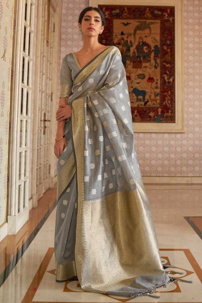 Grey Silk Weaved Saree