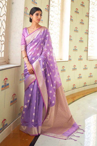 Purple Silk Weaved Saree