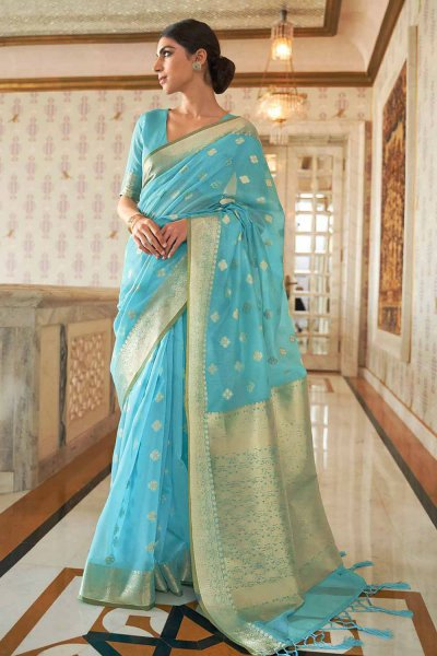 Blue Silk Weaved Saree
