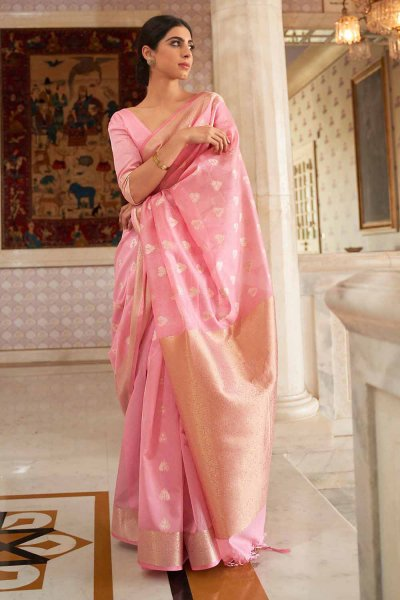 Pink Silk Weaved Saree