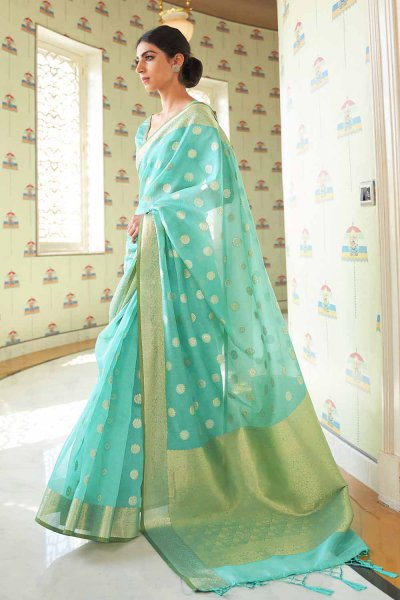 Sea Green Silk Weaved Saree