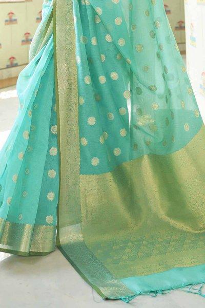Sea Green Silk Weaved Saree