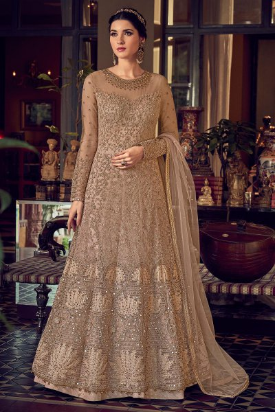Beautiful Coffee Brown Party Wear Embroidered Net Anarkali Suit