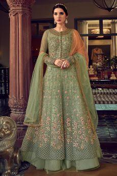 Dark Sage Green Floral Embroidered Net Anarkali Suit with Lehenga/Pants