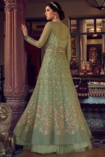 Stunning Sage Green Floral Embroidered Net Anarkali Suit with Lehenga/Pants