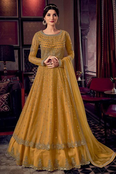 Mustard Yellow Party Wear Embroidered Anarkali with Lehenga