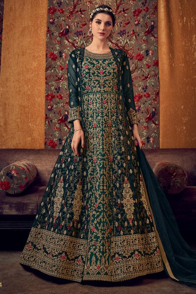 Floral Embroidered Party Wear Net Anarkali Suit with Jacket