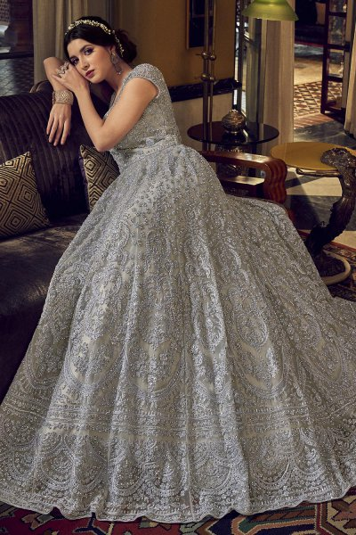 Silver Grey Party Wear Embroidered Net Anarkali Suit