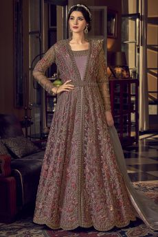 Mauve Pink Floral Embroidered Net Anarkali Suit Jacket Style
