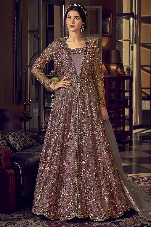 Mauve Pink Floral Embroidered Net Anarkali Suit Jacket Style